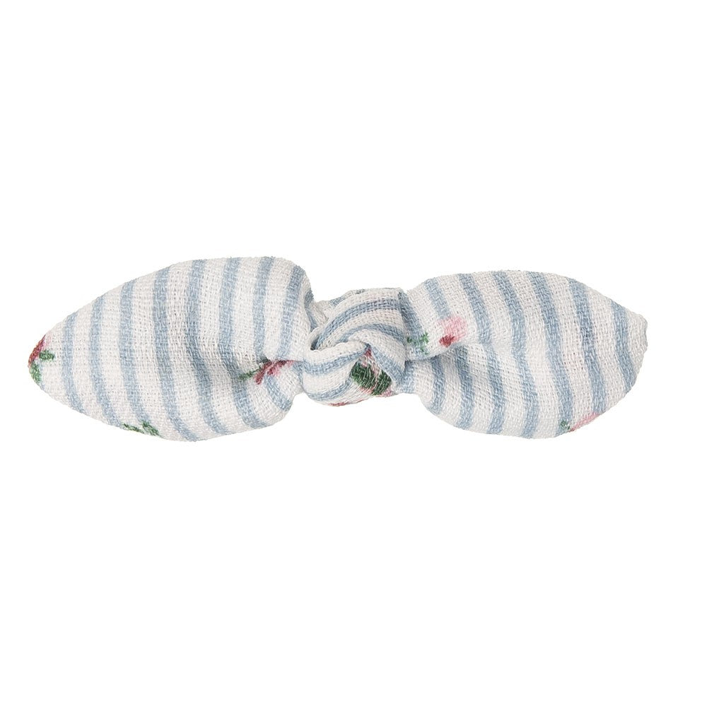 Beautiful hair bow in a delicate floral cotton stripes fabric, a unique handmade piece! Approximately 6 x 1.5 cm and secured to 4 cm snap hair clip.