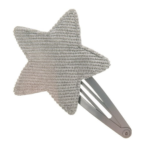 Sweetest hair clip featuring a corduroy star in a gorgeous pink colour.  Grey. Wholesale Olivia Ann Accessories