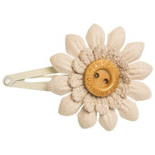 Beautiful and delicate leather flower with a sweet wooden button in cream colour. Will add a sweet touch to any outfit!
