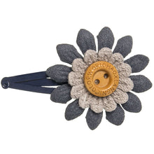 Beautiful and delicate leather flower with a sweet wooden button in navy colour. Will add a sweet touch to any outfit!
