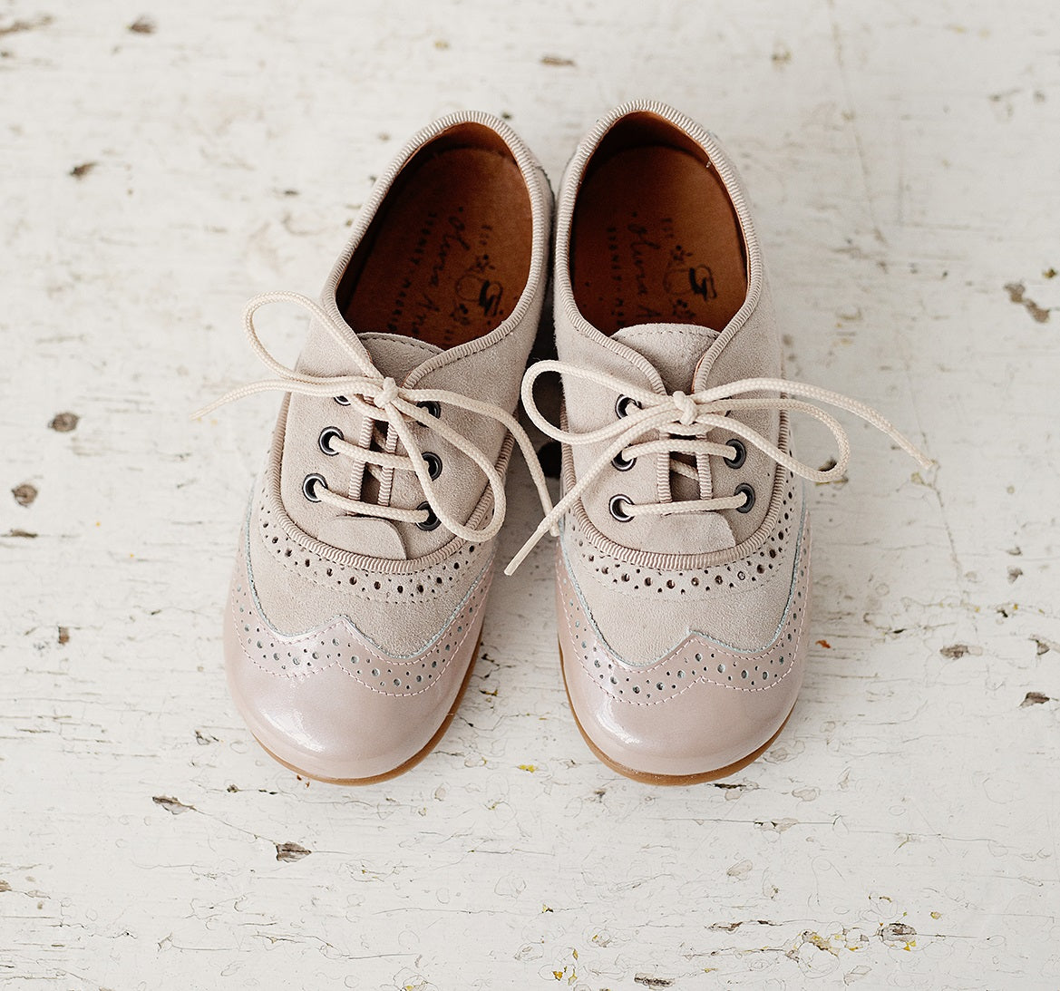 Beautiful smart-casual style lace-up brogue shoes. Made with an adorable combination of Cream Patent Leather and Grey Suede of the highest quality. Olivia Ann Shoes.