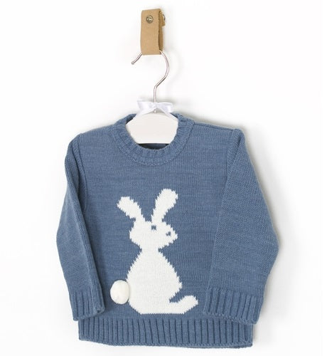 Blue Knitted Jumper with Bunny