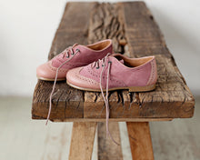 Beautiful smart-casual style lace-up brogue shoes. Made with an adorable combination of Rose leather and Mauve Suede of the highest quality. Olivia Ann Shoes.