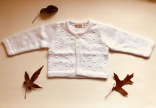 Sweet Unisex Bubble knitted cardigan with wooden buttons in white. I must have basic.