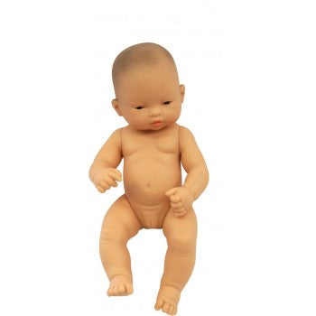 Stunning Miniland Doll - Asian Girl, 32 cm (UNDRESSED) These anatomically correct dolls are vanilla scented to smell like a newly born baby. They have superbly designed facial features, stitched-on hair, and articulated arms, legs and neck / head.
