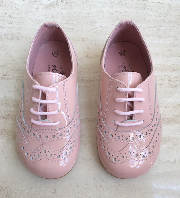 "OLIVIA ANN Brogue Patent Leather ""Chloe"" Shoes- Pink"