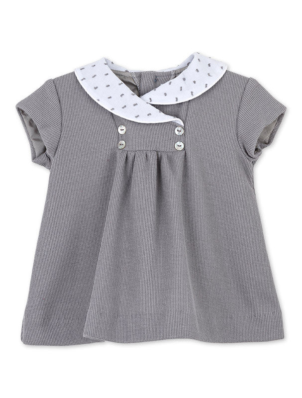 Baby dress - Grey with White Collar - SALE 50% OFF!