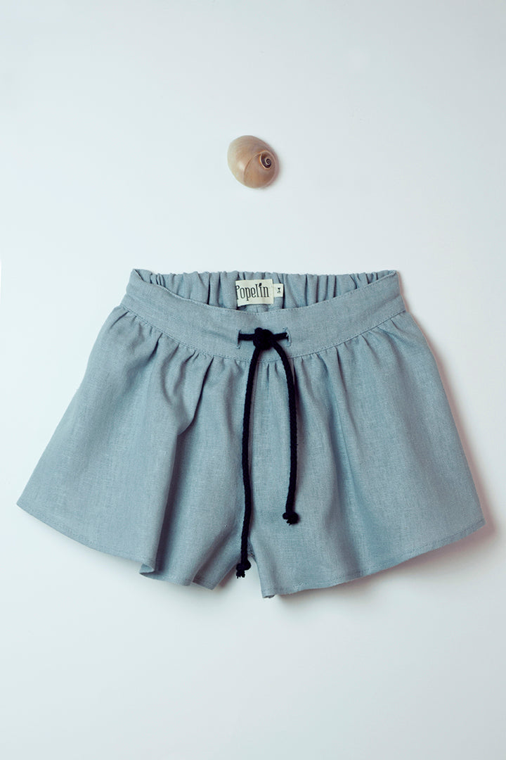 Blue High-Waisted Trouser-Skirt