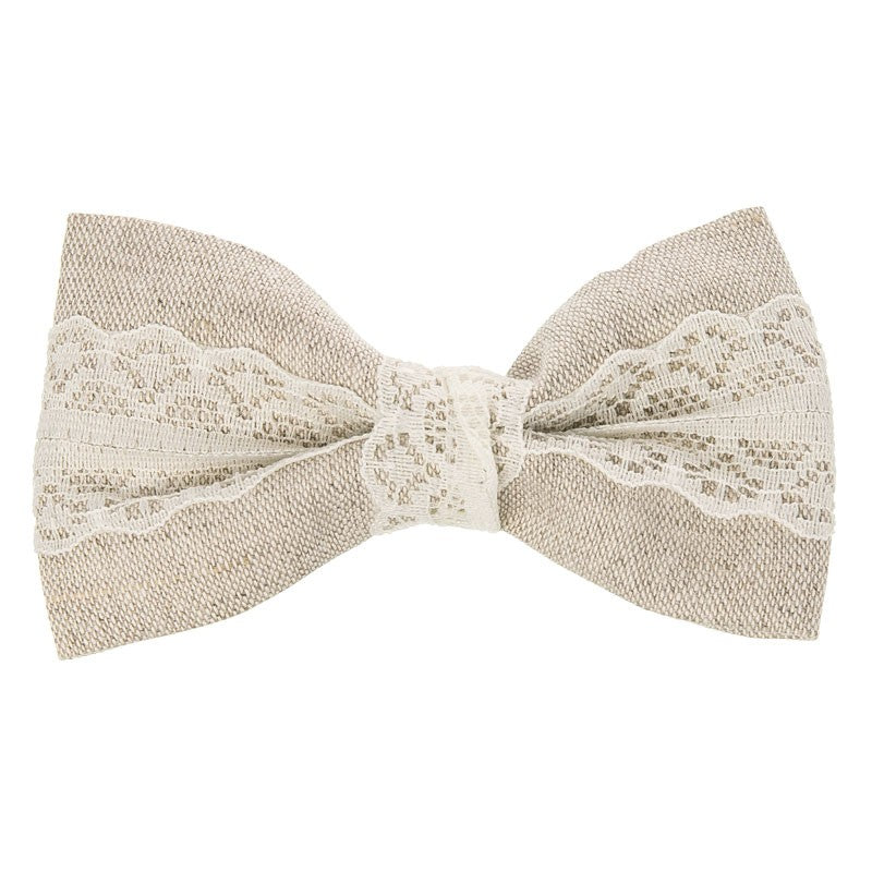 Natural Linen and Lace Large bow