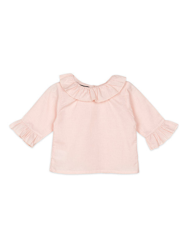 Pink Blouse Frill Collar