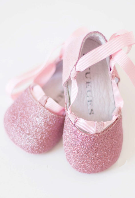 Baby Soft Suede leather and Glitter Ballet Flats