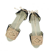 Plaited Espadrille / Jute-Black Linen - SALE 30% OFF!