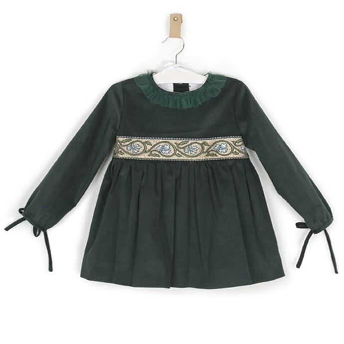 Dress in Bottle Green Corduroy