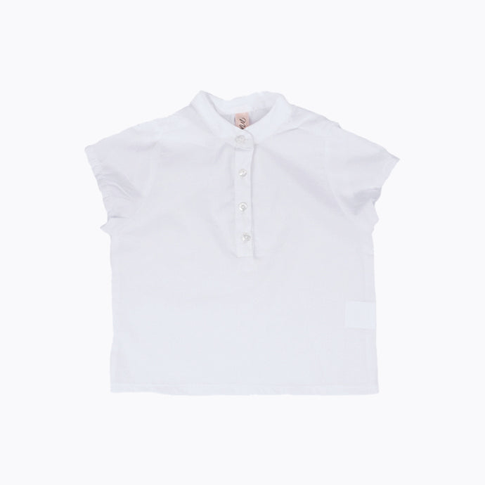 Cotton Shirt Mandarin Collar - White (SALE 50% OFF!)