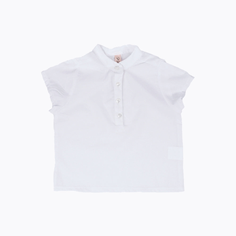 Cotton Shirt Mandarin Collar - White