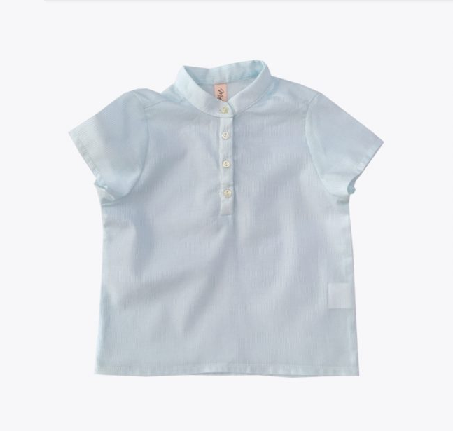 Shirt Mandarin Collar - Mint Stripes