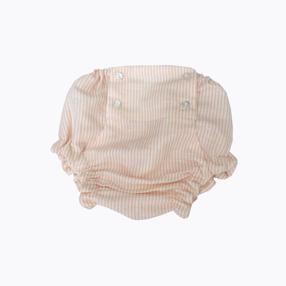 Adorable vintage inspired unisex bloomers with peach colour stripes.