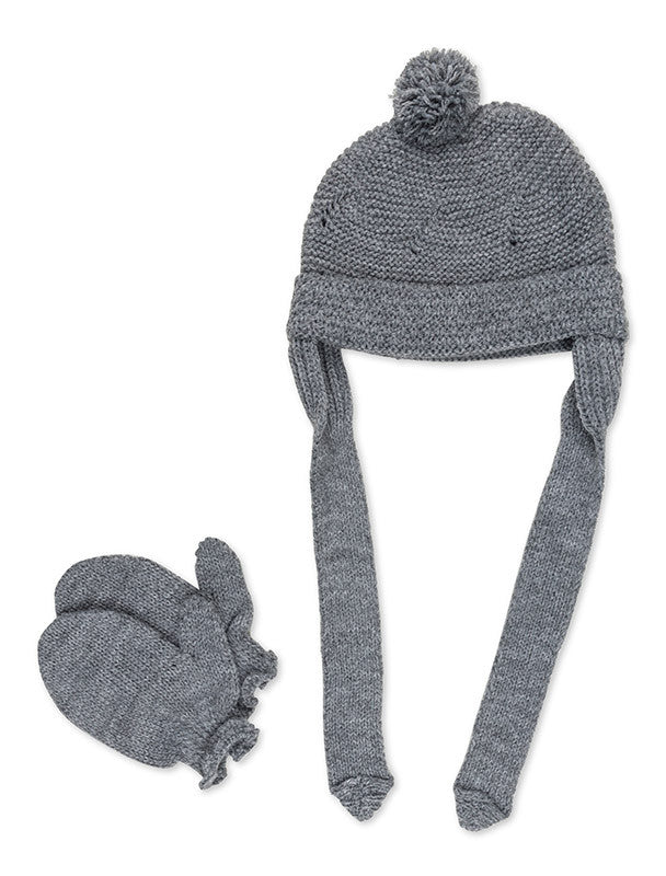 Dark Grey Pom Pom Beanie and Mitten Set