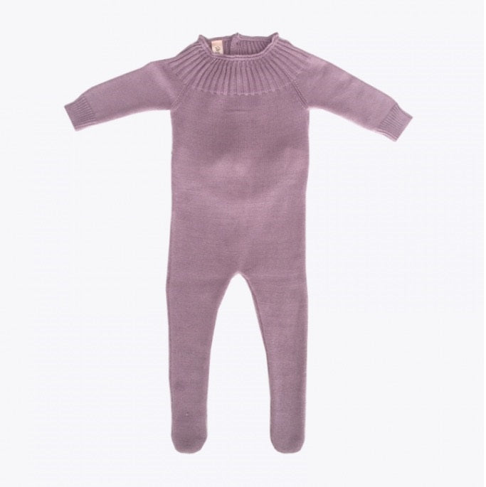 Knitted Footed Romper - Magenta