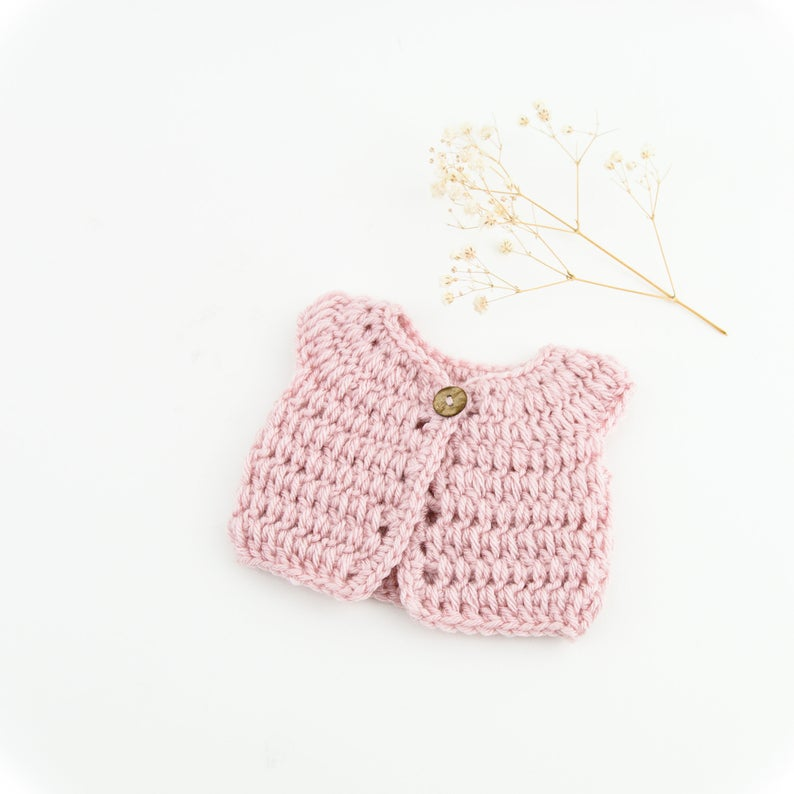 Doll Knitted VEST Blush Pink - M / L ( Fits 34 - 40 cm dolls / 13-15 inch)
