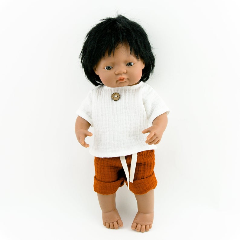 Our dolls clothing is super adorable and of amazing quality, will absolutely melt your heart. Gorgeous handmade muslin white top and rust colour pants set beautiful quality and fabric is divine, so well made! Miniland doll outfit clothes. Paola Reina. Olivia Ann kids