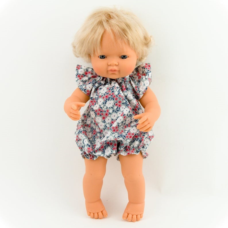 Make your little one's day with this divine doll cotton floral romper today. Our dolls clothing is super adorable and of amazing quality, will absolutely melt your heart. Doll dress miniland, minikane, paola reina clothes. Olivia Ann doll clothes
