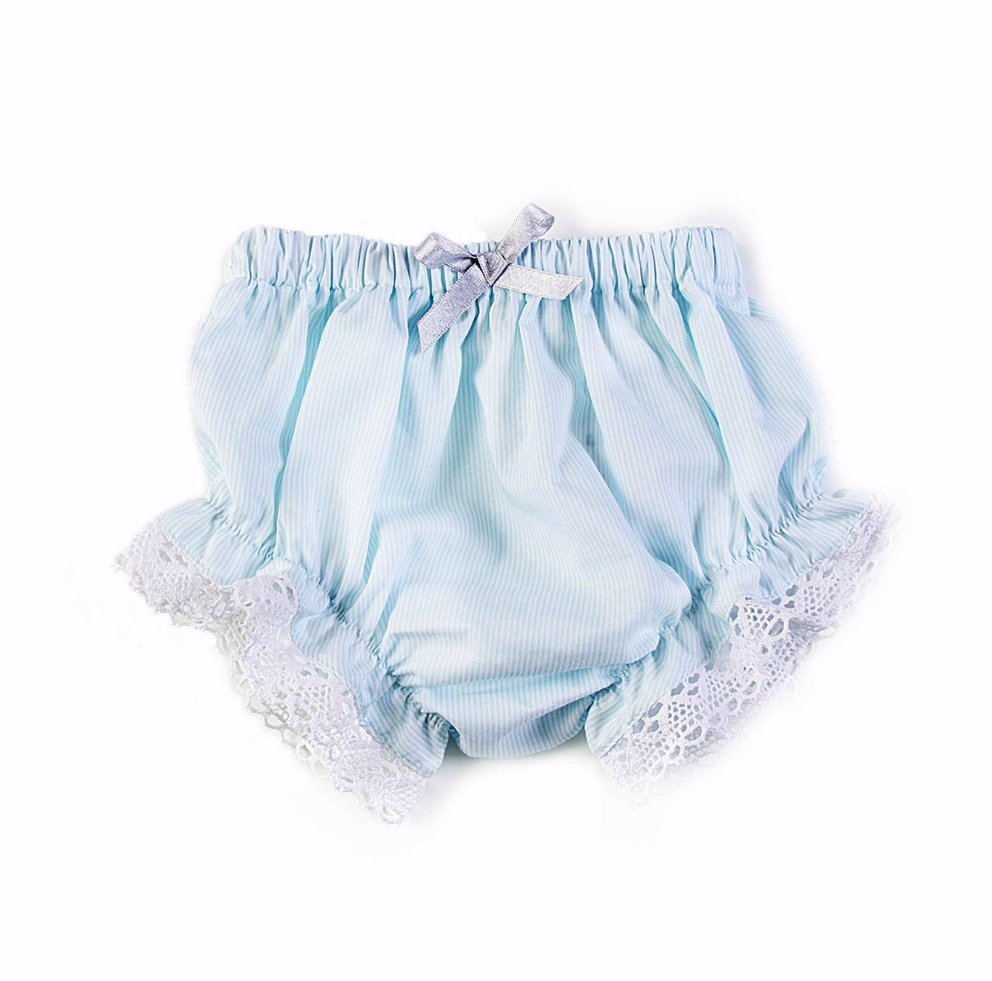 Bloomers with blue stripes and lace detail