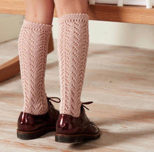 Cotton Openwork Knee High Socks - Vintage Pink