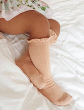 Knee High Socks with Lace Edging Cuff - Peach