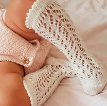 Cotton Openwork Knee High Socks - Milk