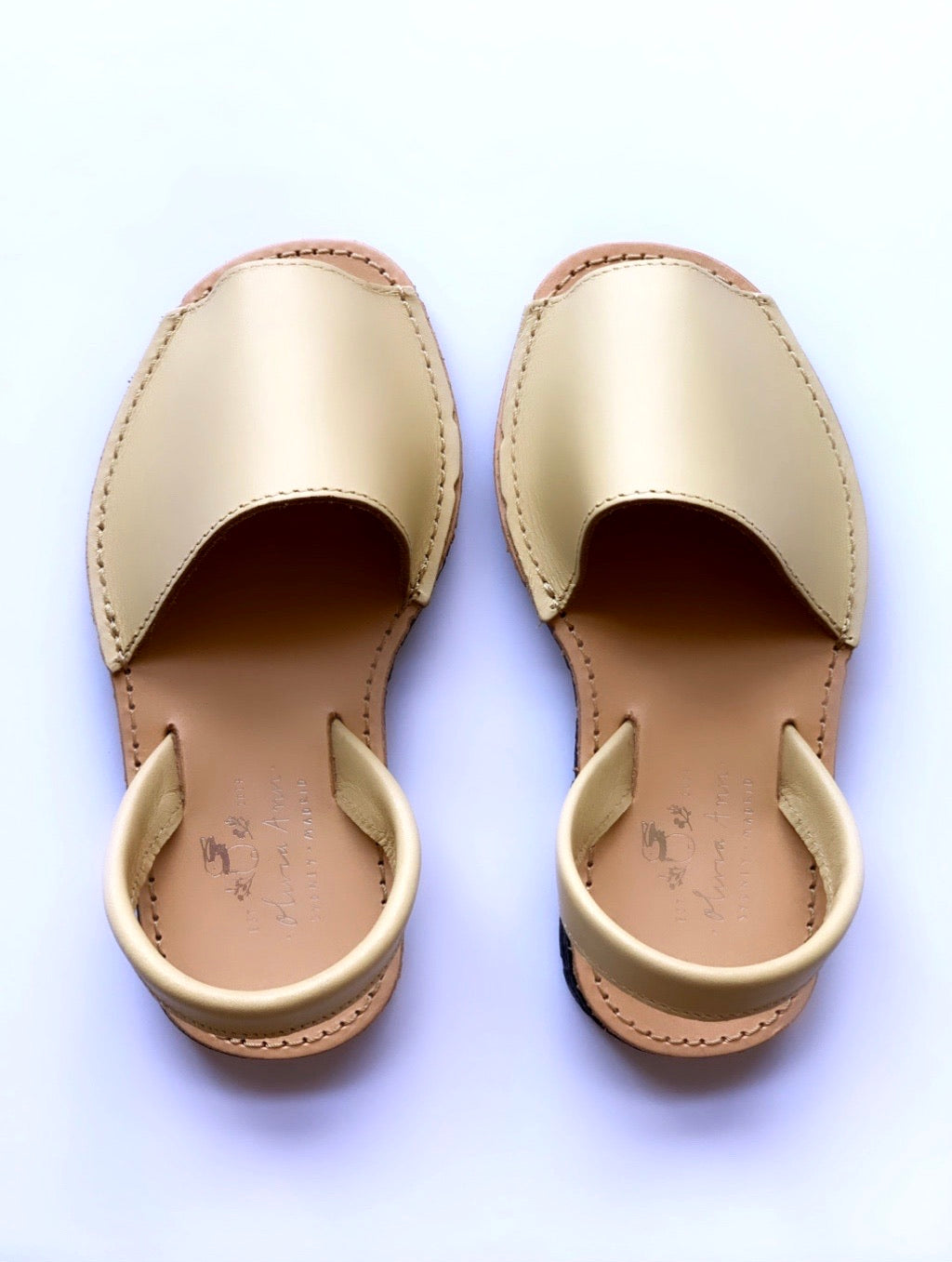 Authentic leather avarcas crafted in Menorca Spain. Available in difference sizes for the whole family. From baby to adults. Menorquinas. Sandals. Olivia Ann