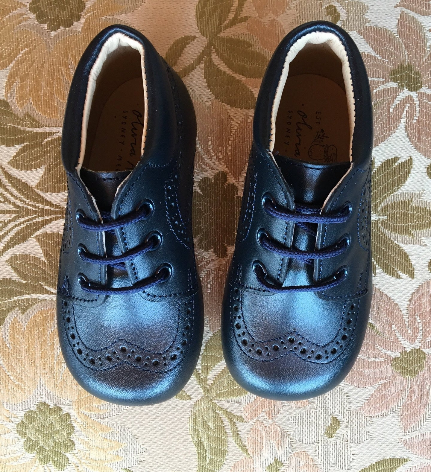 "OLIVIA ANN ""Derby"" Brogue Boots - Navy"