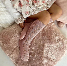 Perle Geometric Openwork Knee High Socks - OLD ROSE