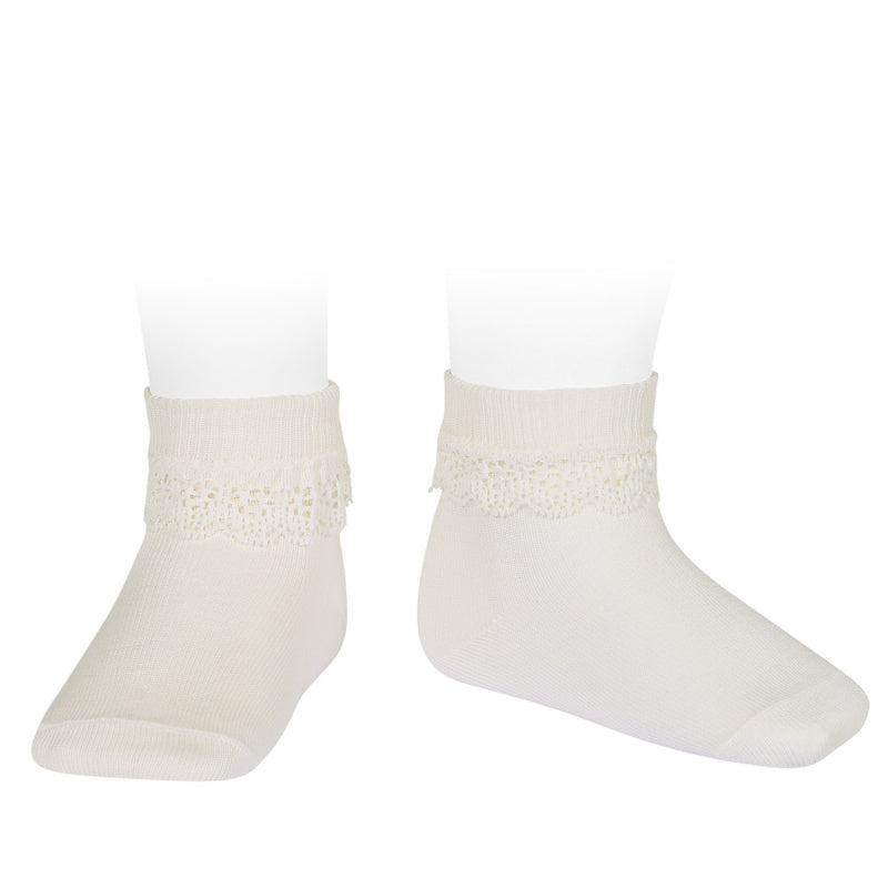 Lace Trim Rib Ankle Socks with Folded Cuff - Cream (202)