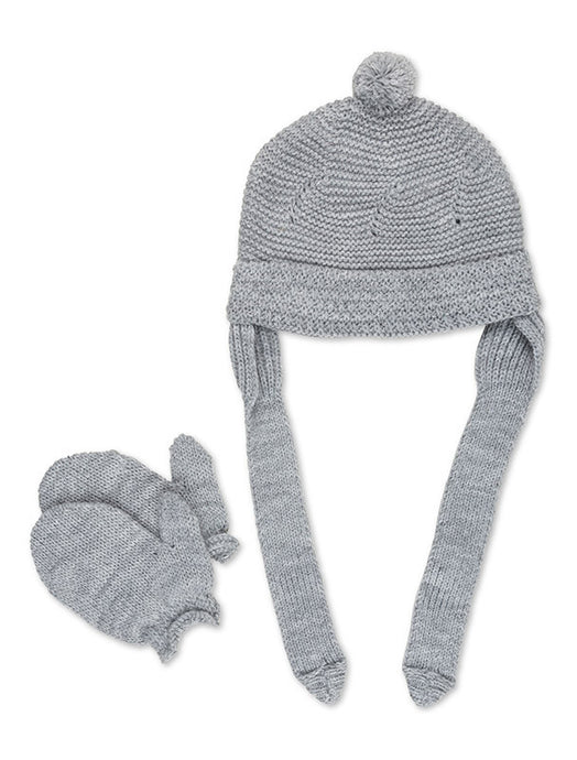 Light Grey Pom-Pom Beanie and Mitten Set