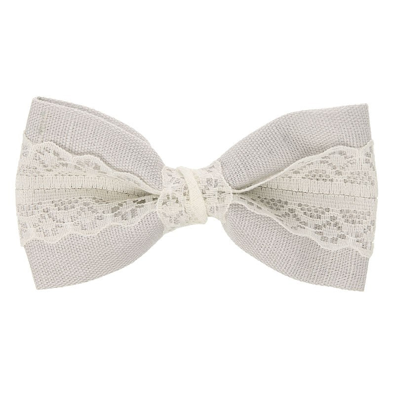 Light Grey Linen and Lace Large bow