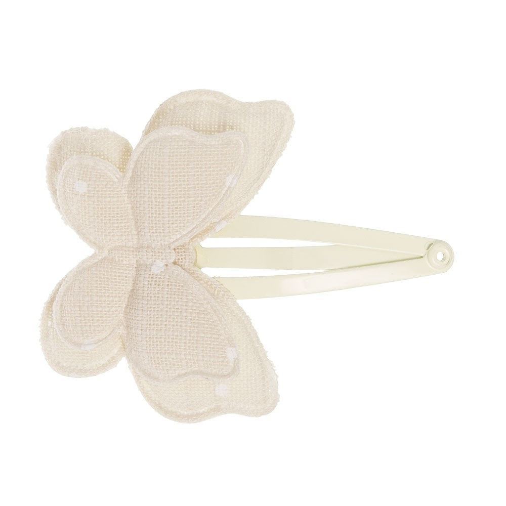 Dainty double butterfly padded clip handmade with a delicate ecru fabric with white polka dots. Dreamy and exquisite hairclip!