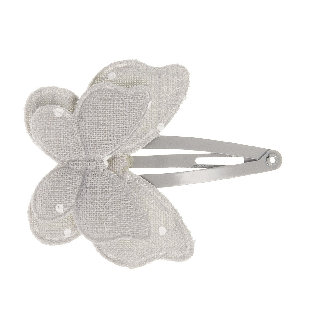 Dainty double butterfly padded clip handmade with a delicate grey fabric with beige polka dots. Dreamy and exquisite hairclip!