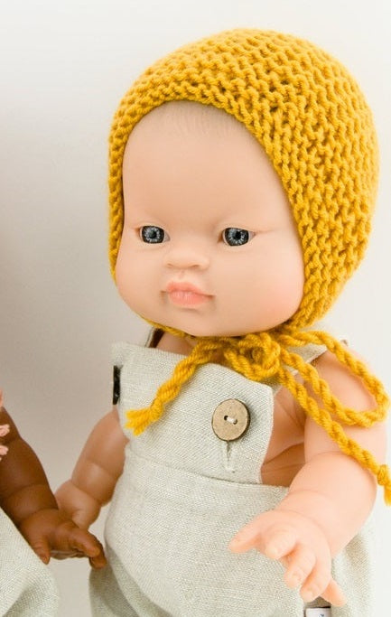Doll Knitted BONNET Mustard - M / L ( Fits 32 - 38 cm dolls / 13-15 inch)