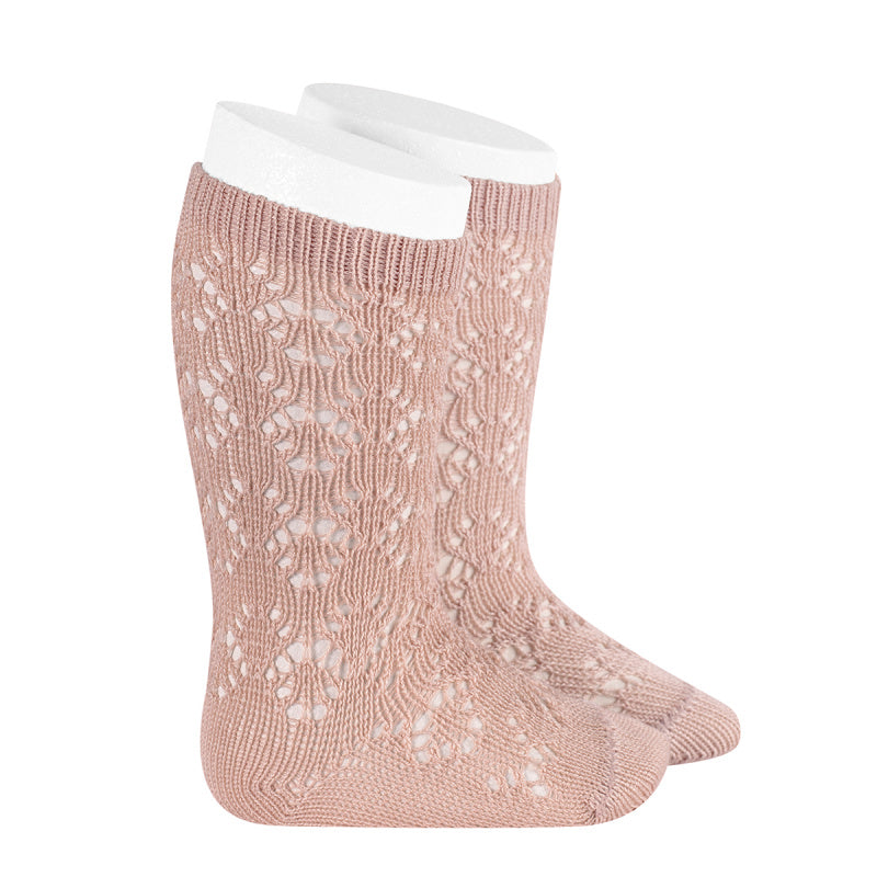 A very special  pair of socks, featuring an exquisite openwork geometric design in a delicate old rose colour.  Very good quality socks. Ideal for Spring and Autumn weather. It will add a beautiful touch to any outfit! Soooo sweet. Condor socks stockings
