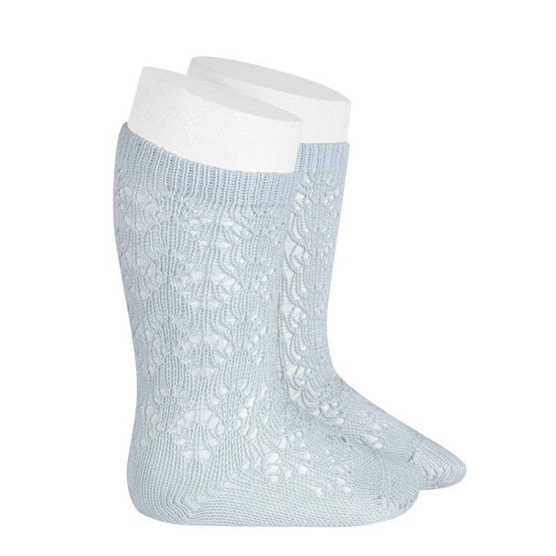 A very special  pair of socks, featuring an exquisite openwork geometric design in a delicate pearly colour.  Very good quality socks. Ideal for Spring and Autumn weather. It will add a beautiful touch to any outfit! Soooo sweet. Condor socks, stockings