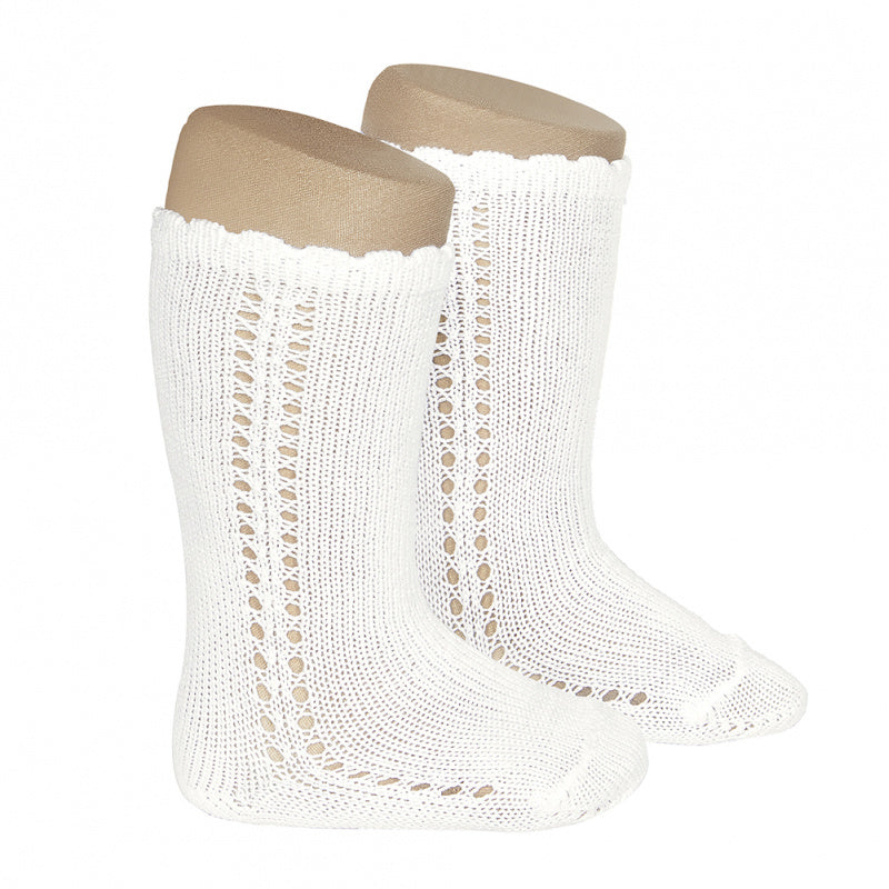 Cotton Side Openwork Knee High Socks - Cream