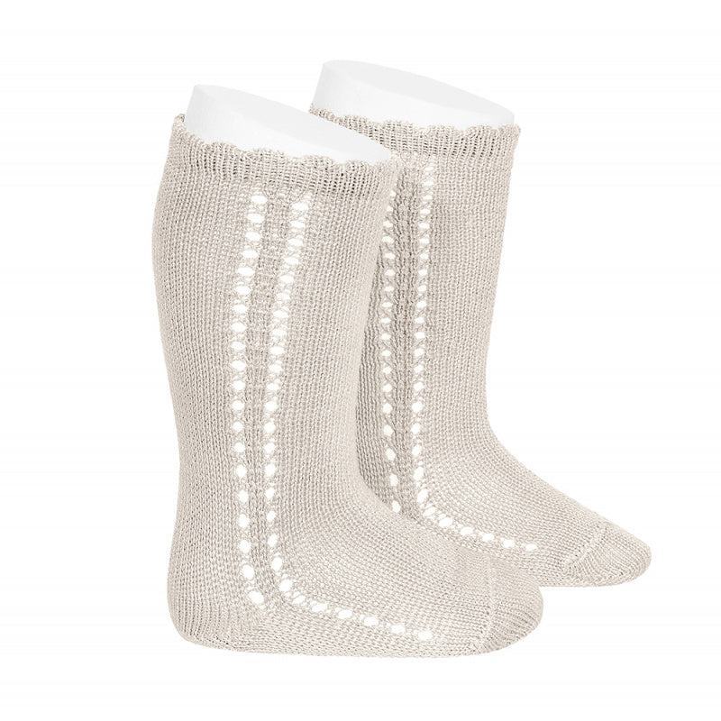 The most adorable Cotton side Operwork Knee high Socks. Super soft and the details are just stunning! Your little one will love them. Linen. COndor