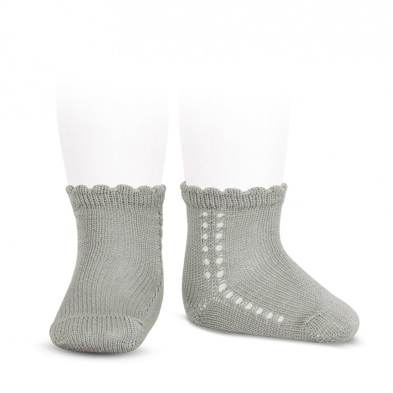 Perle cotton side openwork short socks in Grey colour. condor short socks