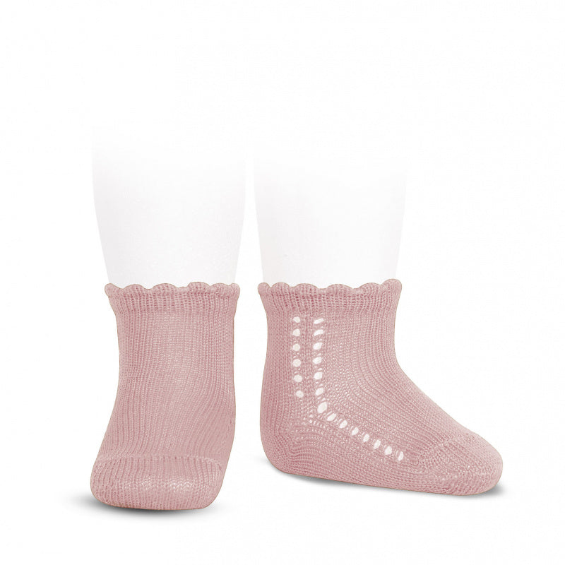 Perle cotton side openwork short socks in a beautiful Vintage Pink colour. They are a must for your little one's wardrobe. rose. pink. blush. short socks condor