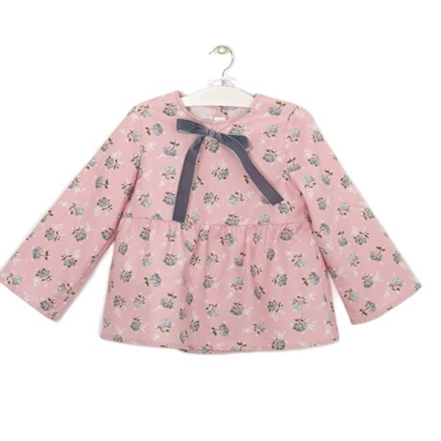 Pink Blouse with Flower Print and Grey Bow