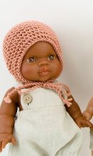 Doll Knitted BONNET Mint  - M / L ( Fits 32 - 38 cm dolls / 13-15 inch)