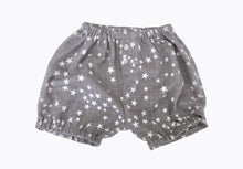 Cutest shorts made with 100% Organic Cotton. Elasticated waistband and legs, allowing for no restriction in movement. Soft and stretchy. Darling Thigh-length style.