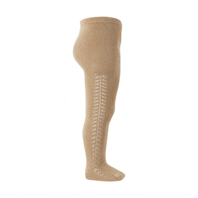 Side Openwork Tights Camel