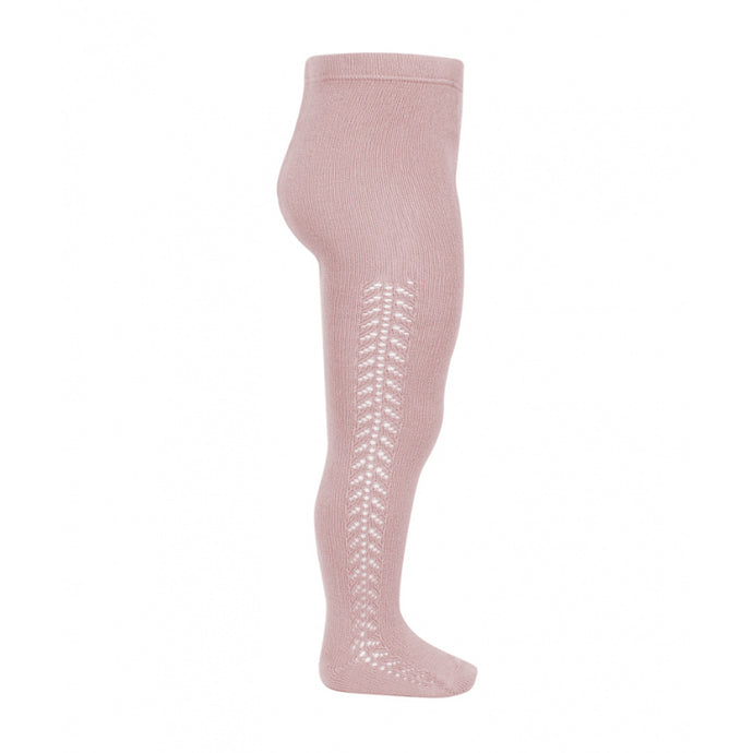 A very special  pair of tights, featuring an exquisite openwork crochet design on the sides.Very good quality. Warm, ideal for Autumn and Winter.  Made in Spain by Condor. Pale Pink 526